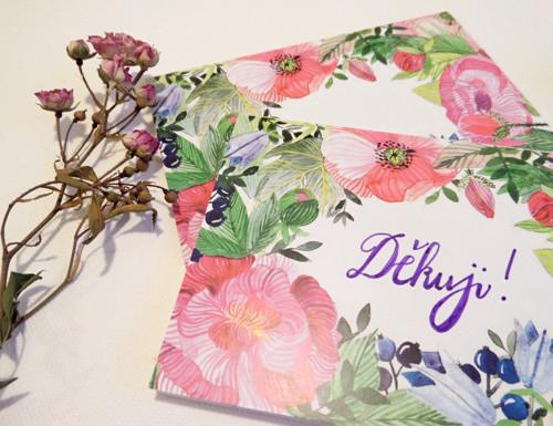 Květinový rámeček. Dopisovací přání a obrázek 2v1