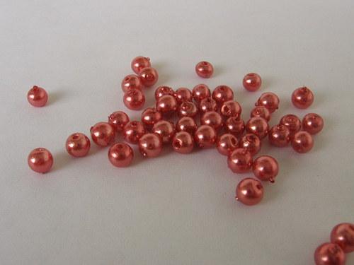 Vosková perla - tmavě lososová 3 mm / 30 ks