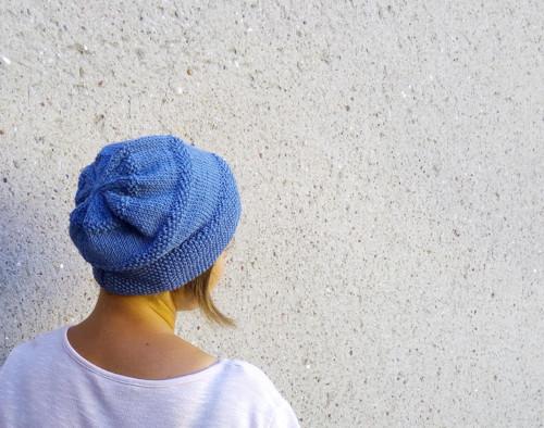 Dámská čapka MODRO - ŠEDÁ 50% merino