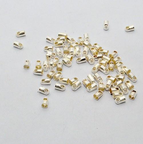Koncovka kulatá / 20 ks / 3,2 mm / stříbro