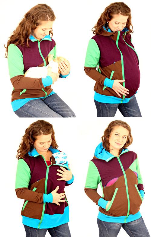 Mikina 4v1 - kojící, těhotenská, nosící a normal