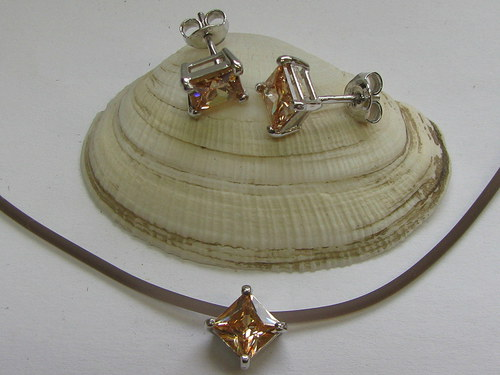 Stříbrná sada s krystaly Swarovski-RHODIOVANÁ