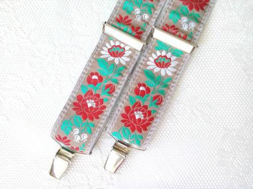 Folklore suspenders for kids (beige)