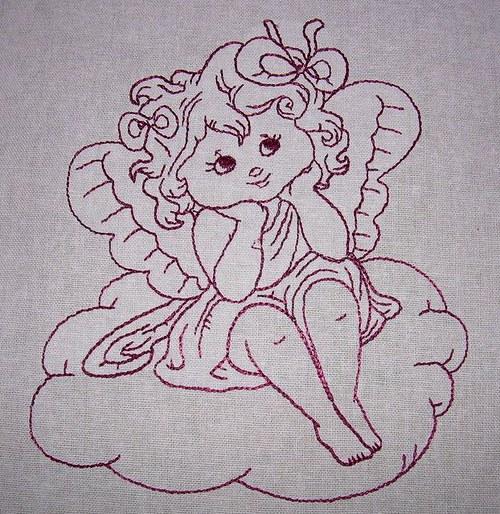 Výšivka na plátně anděl1