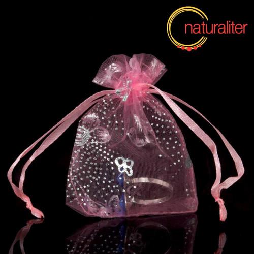 Dárkový organzový sáček růžový  s motýly 9x7cm