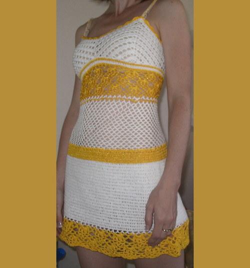 bíložluté šaty - tunika SLEVA