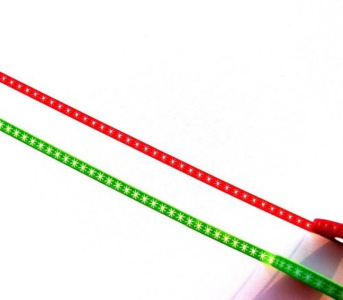Pásky: Vločky na zelené a na červené (0,5 x 33 cm)