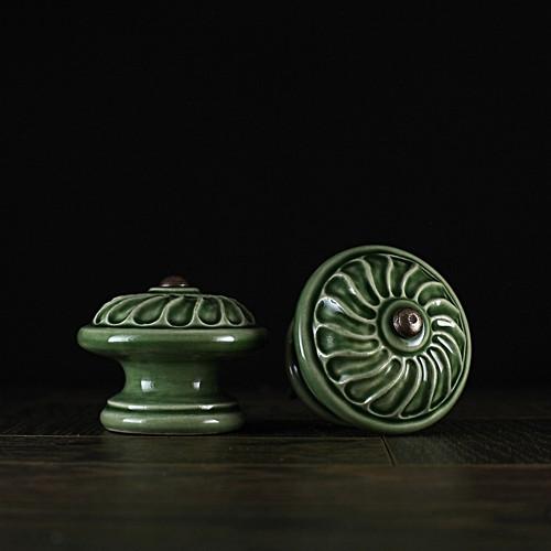 úchyt - knopek zelený - vzor č. 1 VELKÝ