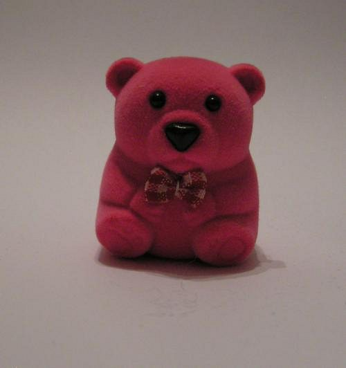Sametová krabička na šperky - malý růžový medvídek