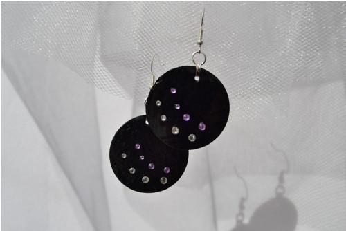 Černé perleťové náušnice