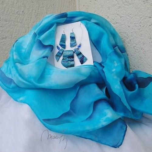 Na modré vlně Hedvábná šála + náušnice+náhrdelník