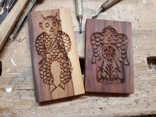 Anděl a čert-dřevěná forma