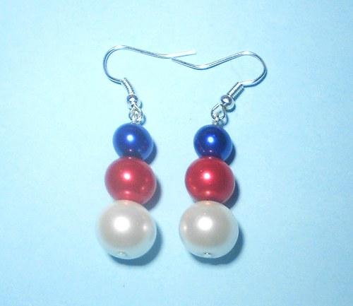 Perly - naušnice červené, modré a bílé