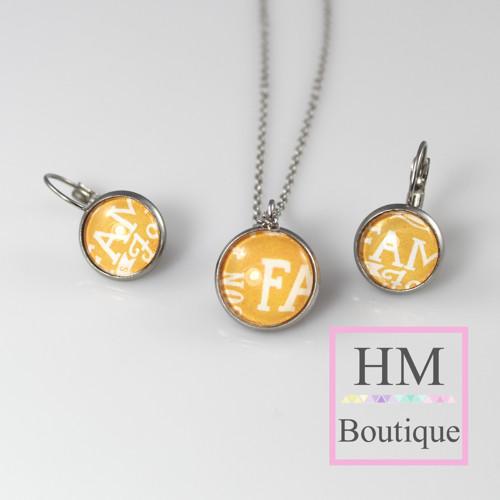 ocelový set -náušnice a náhrdelník písmo