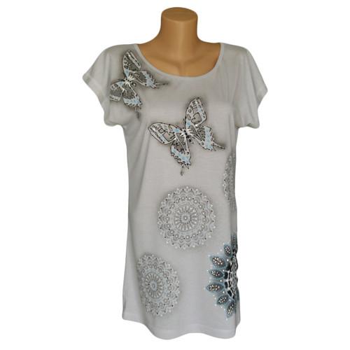 Světlounce šedé dlouhé tričko s motýli