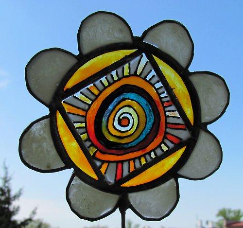 Zápich do květináče SLUNEČNICE se spirálkou
