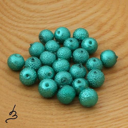 Voskové perle vroubkované smaragdové 8 mm - 20 ks