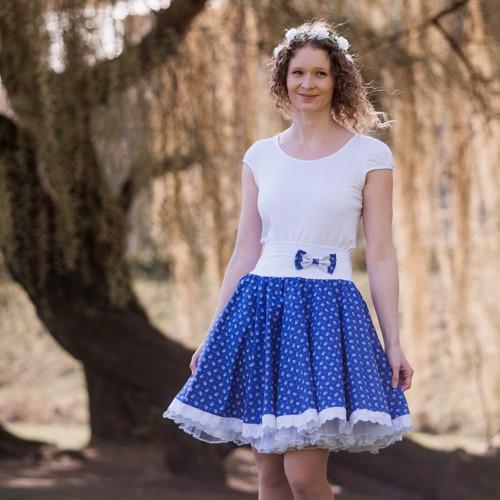 Kolová modrotisková sukně