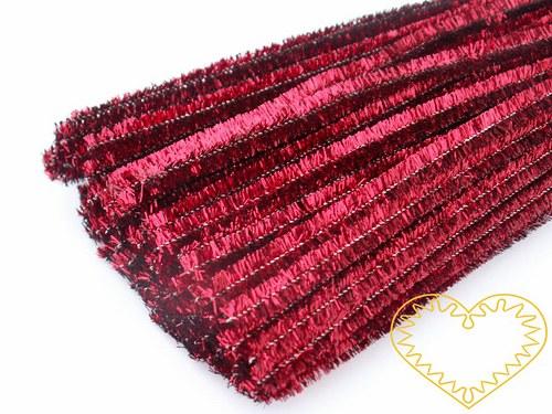 Modelovací chlupatý drátek metalický červený 100ks
