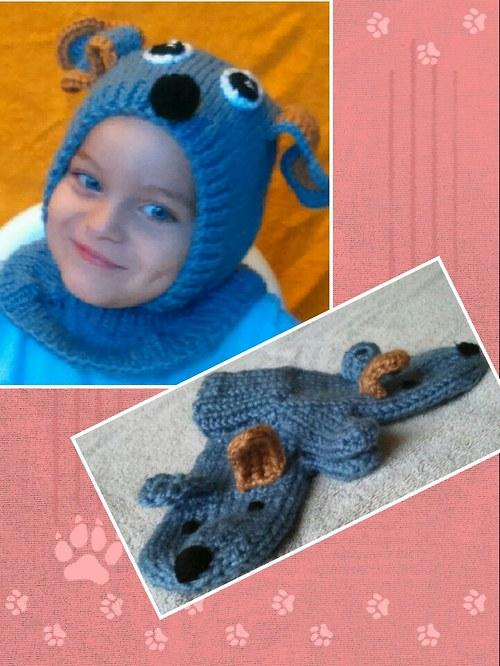 Dětská pletená kukla + rukavičky Modrý Hafík