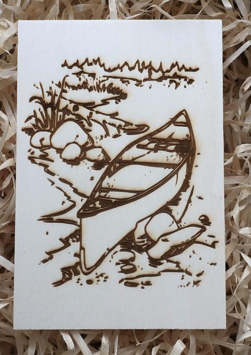 Dřevěná pohlednice - lodička