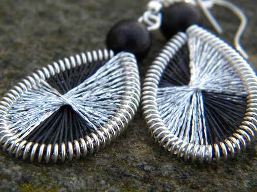 MINI Naušnice - stříbro/černé třpytky