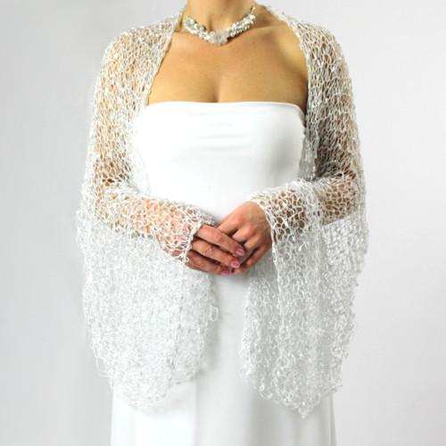 Úplňková přání... třpytivý stříbro-bílý šál