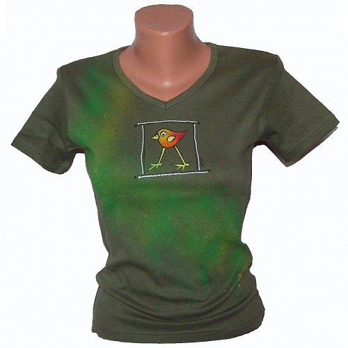 Triko malované - khaki