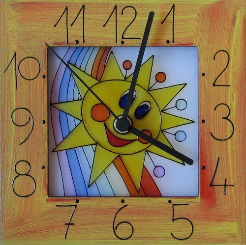 Sluníčko *Cestou duhy - hodiny v rámu 17cm