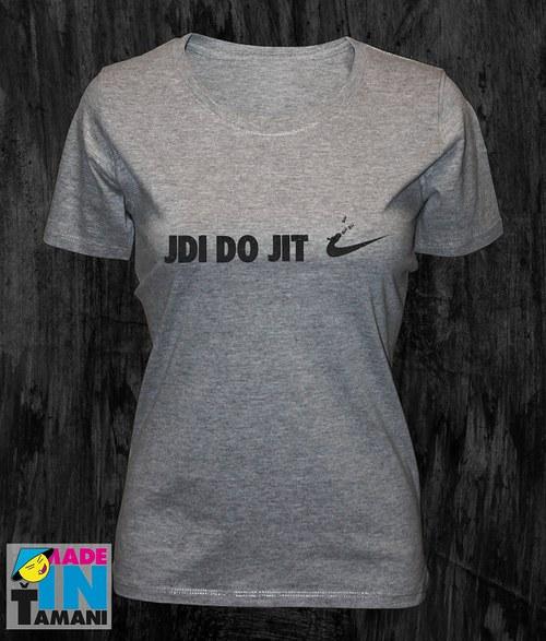 Dámské šedě-melírové tričko Jdi dojit 02