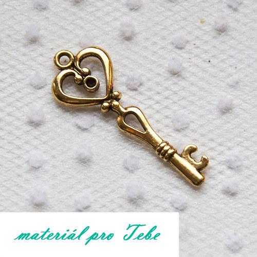 velký zlatý tibetský klíč - 4,2 cm dlouhý