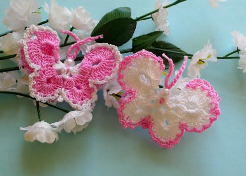 Háčkovaný motýlek - 2ks - neškrobený,růžový