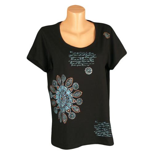 Dámské tričko tyrkysově malované
