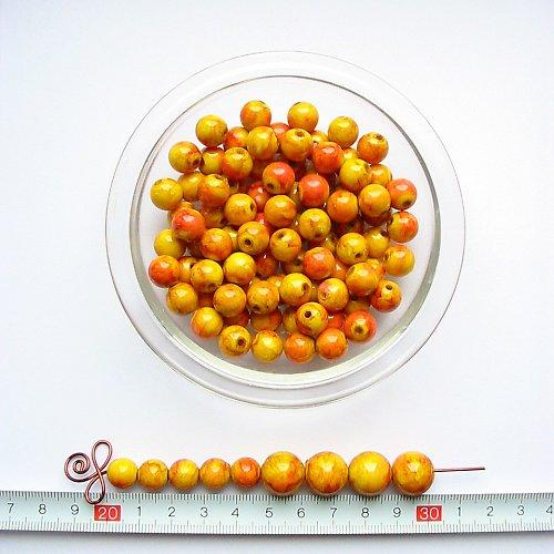 Mramorová kulička 10, žluto-červená, 10 ks, sleva