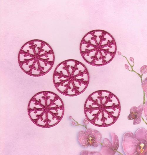 Vločky ze třpytivé pěnovky - tmavě růžové (5 ks)