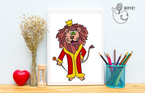 Lev v barvě (bez stínů)