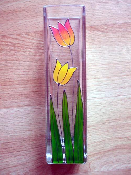 Skleněná váza - tulipány (menší)