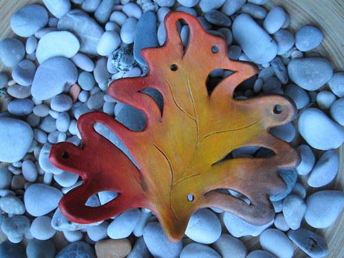 keramický lístek - podzimní dekorace