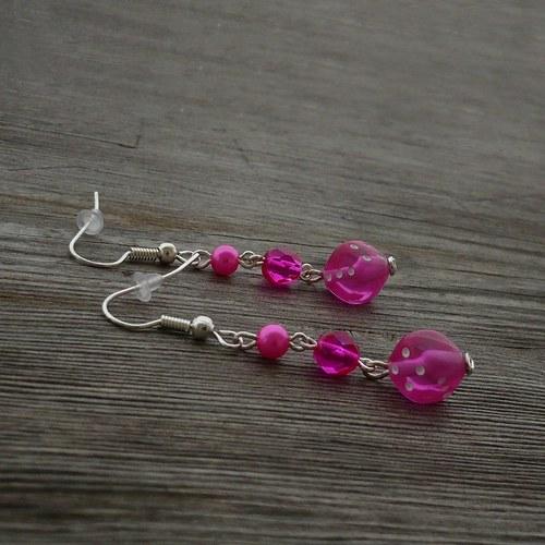 Růžové kostky - náušnice