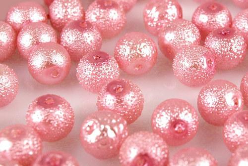 Zvrásněné perly průměr 6mm 20 ks barva růžová