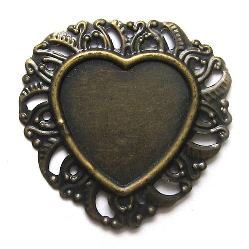 Srdce - antik bronz - menší