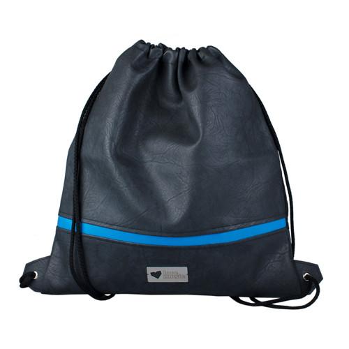 Koženkový vak na záda XL - Modrý pásek
