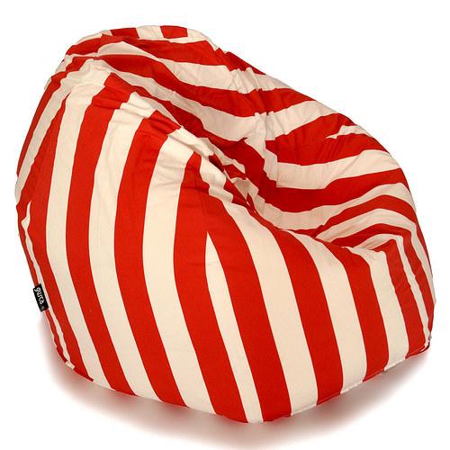 Tradiční sedací vak - červenobílé pruhy