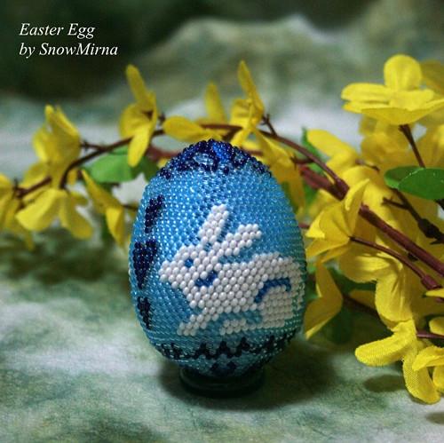 Háčkované vajíčko 6cm VZOR - Modré s králíkem