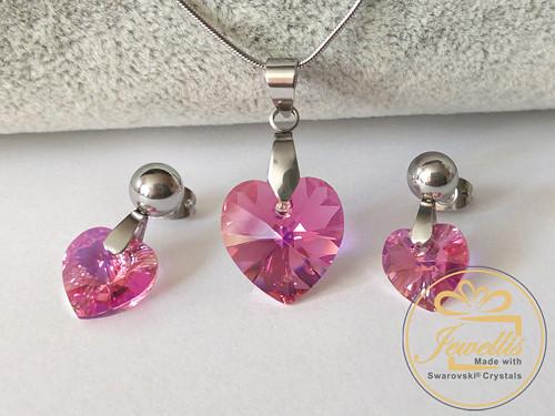 Ocelový set Xilion Heart srdce Swarovski - Rose AB