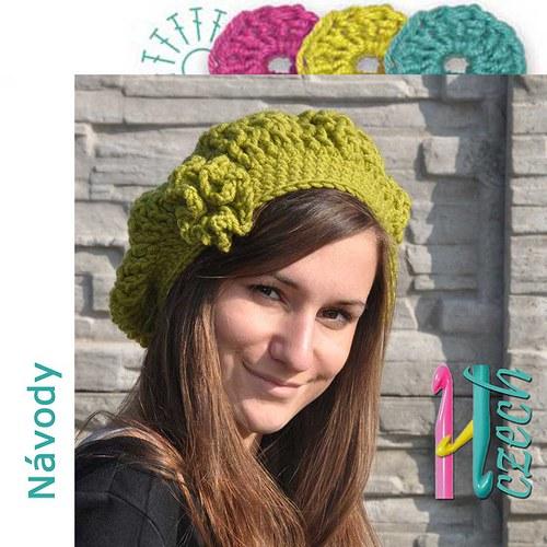 Háčkovaný baret zimní zelený síťovaný