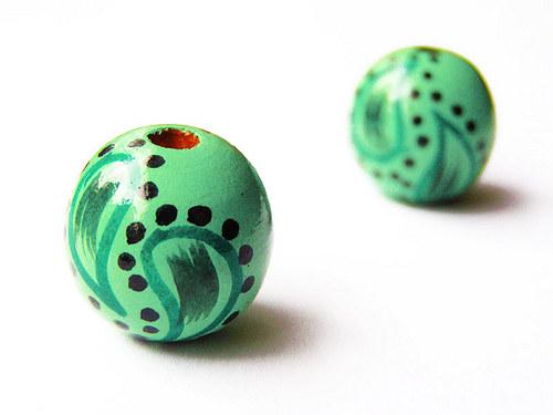 Zelená zdobená kulička ((D3))