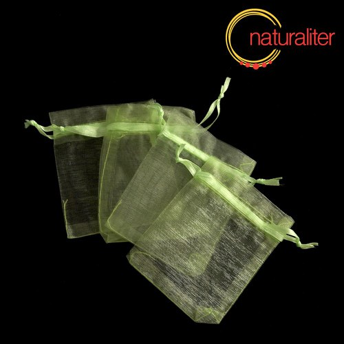 Dárkový organzový sáček světle zelený 9x7cm
