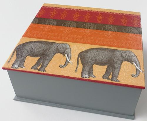 Dřevěná krabička - Indie (šedá)