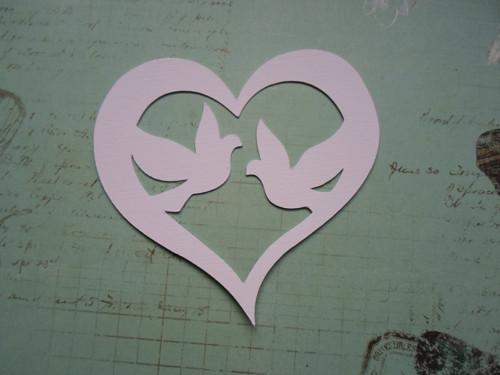Srdce s holubičkami - barva na výběr